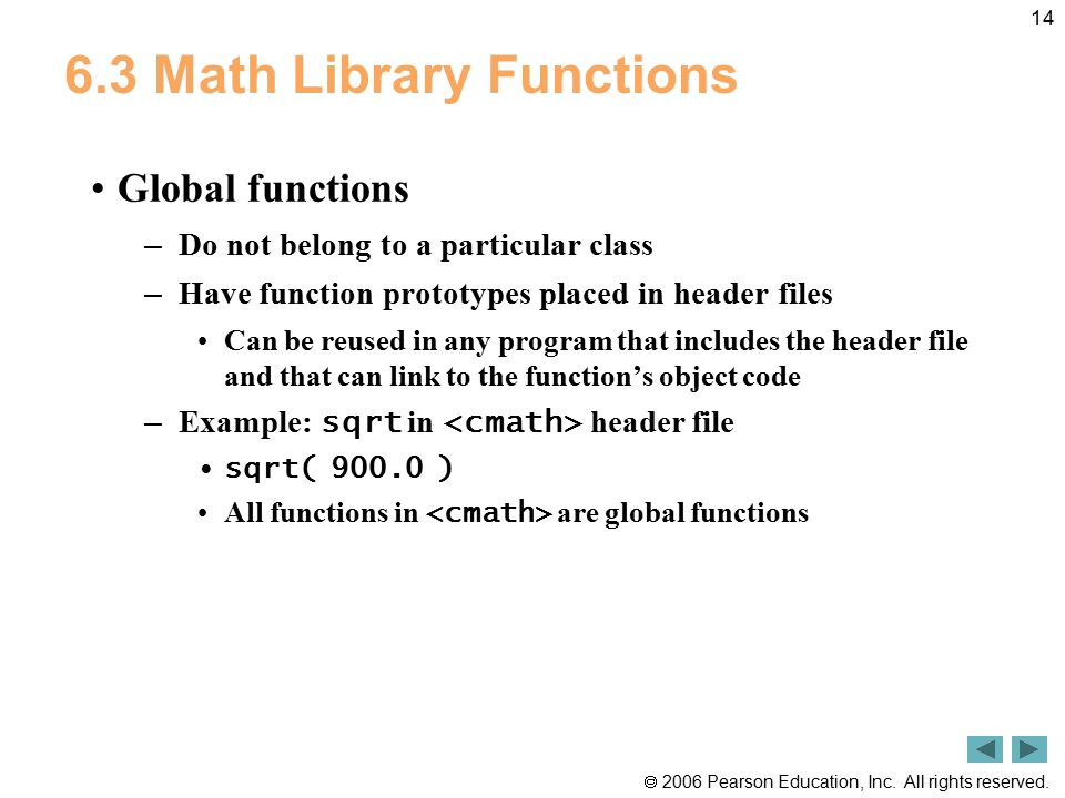 6.3 Math Library Functions