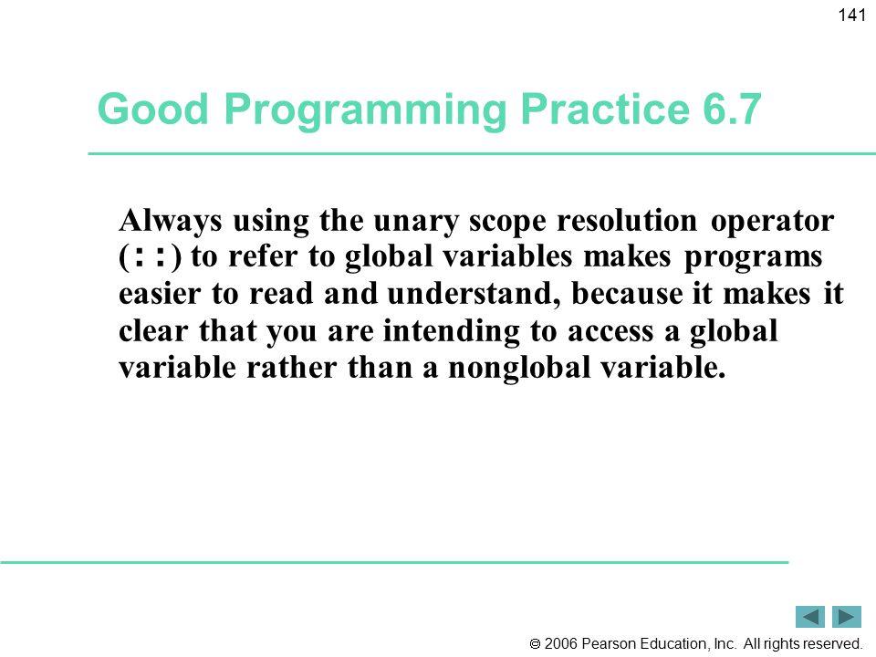 Good Programming Practice 6.7