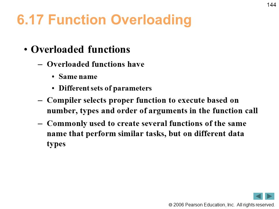 6.17 Function Overloading Overloaded functions