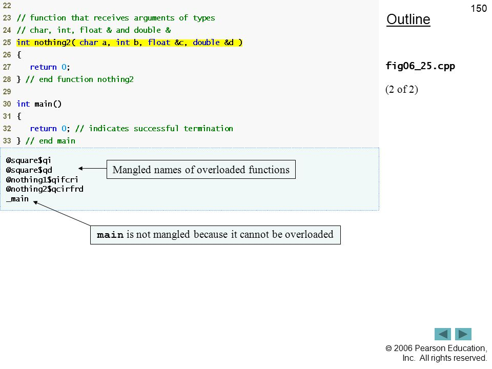 Outline (2 of 2) Mangled names of overloaded functions