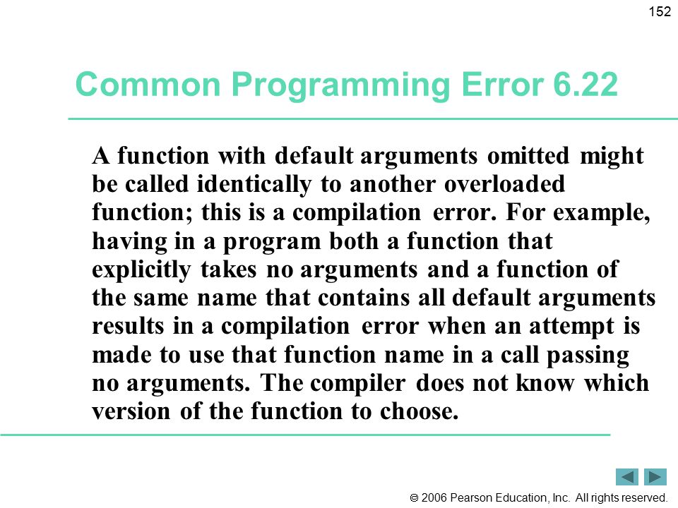 Common Programming Error 6.22