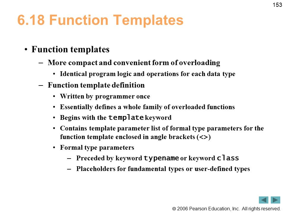 6.18 Function Templates Function templates