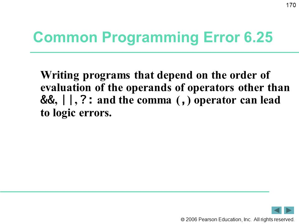 Common Programming Error 6.25