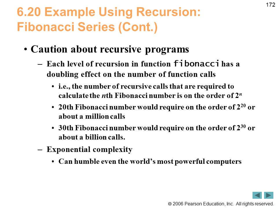 6.20 Example Using Recursion: Fibonacci Series (Cont.)