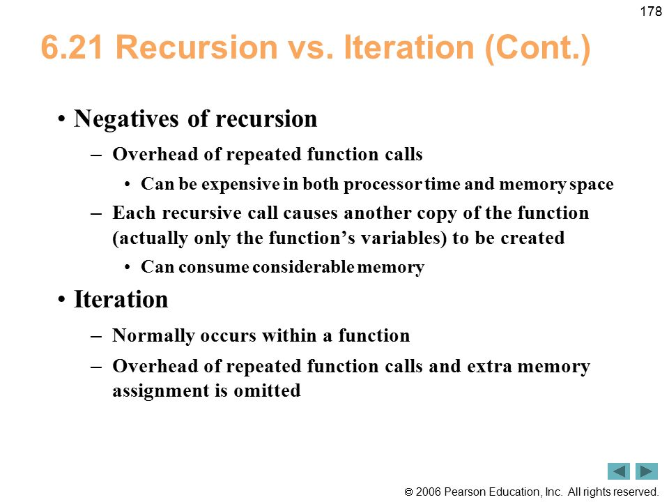 6.21 Recursion vs. Iteration (Cont.)