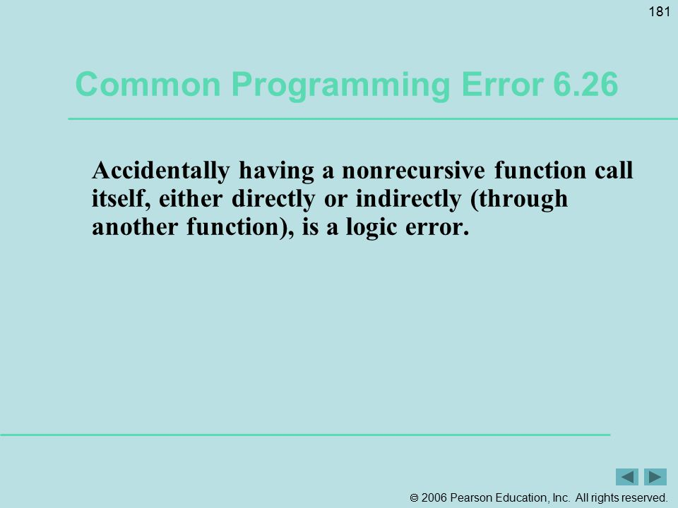 Common Programming Error 6.26