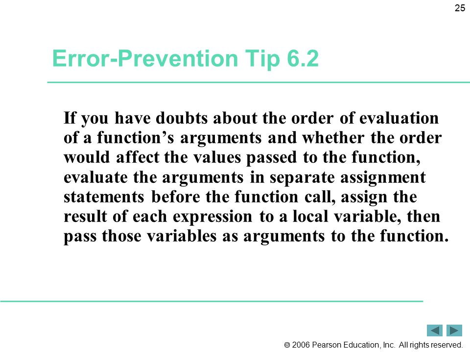Error-Prevention Tip 6.2