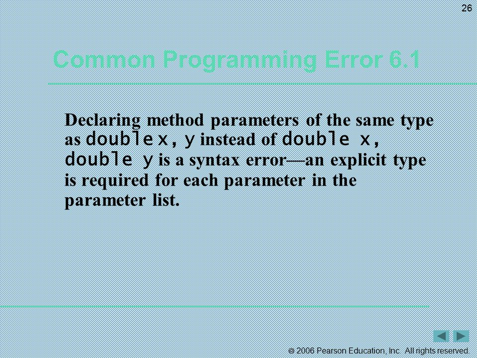 Common Programming Error 6.1