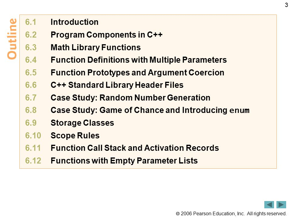 6.1 Introduction 6.2 Program Components in C++ 6.3 Math Library Functions. 6.4 Function Definitions with Multiple Parameters.