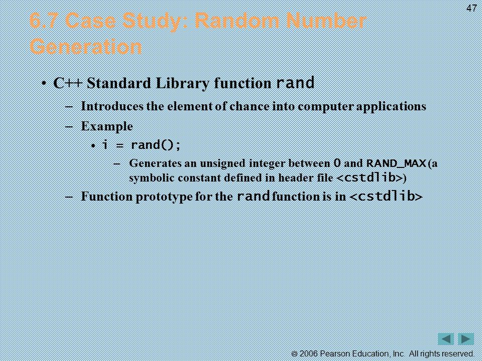 6.7 Case Study: Random Number Generation
