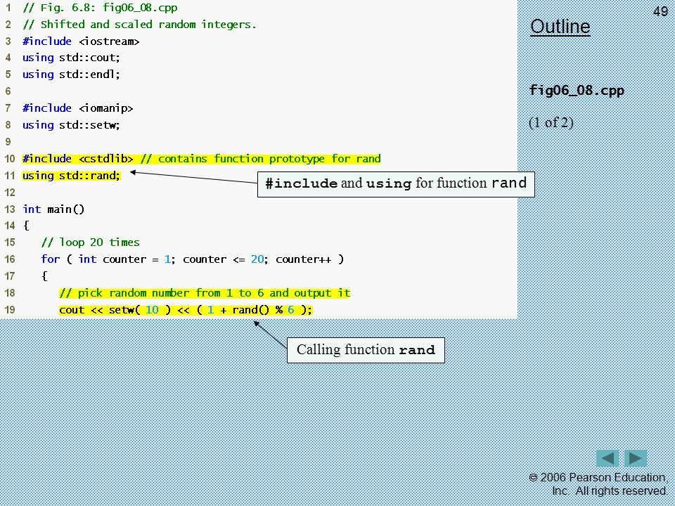 #include and using for function rand