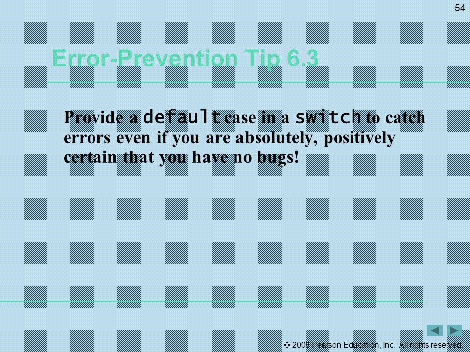 Error-Prevention Tip 6.3 Provide a default case in a switch to catch errors even if you are absolutely, positively certain that you have no bugs!