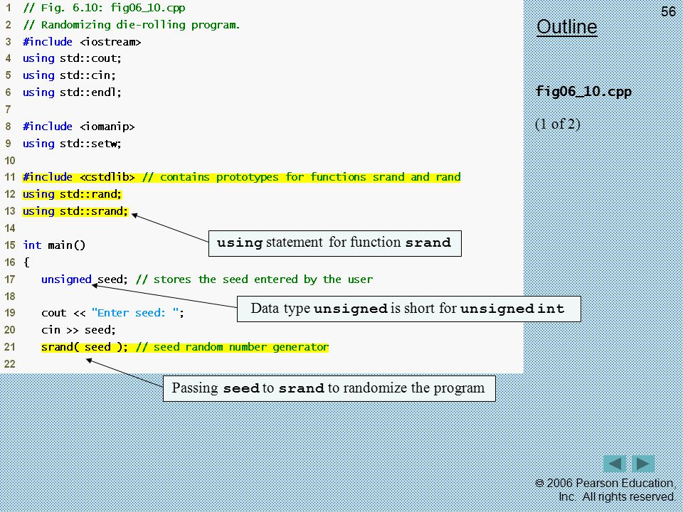 Outline (1 of 2) using statement for function srand