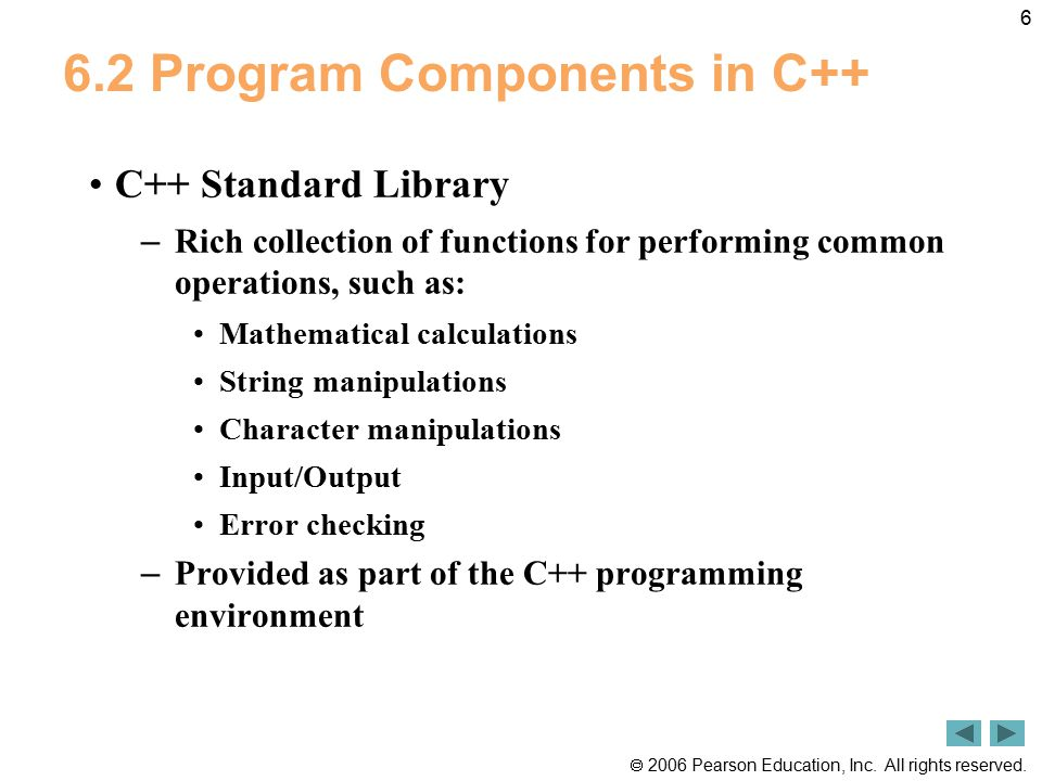 6.2 Program Components in C++