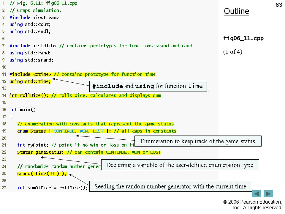 Outline (1 of 4) #include and using for function time