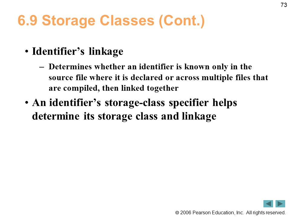 6.9 Storage Classes (Cont.)