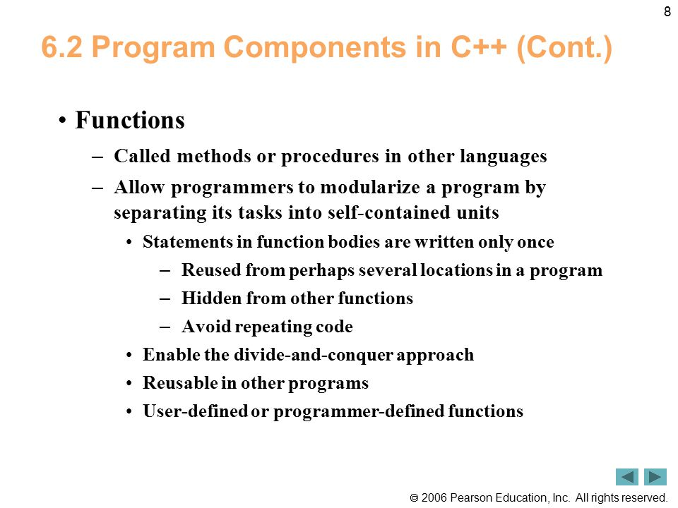 6.2 Program Components in C++ (Cont.)