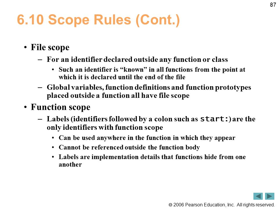 6.10 Scope Rules (Cont.) File scope Function scope