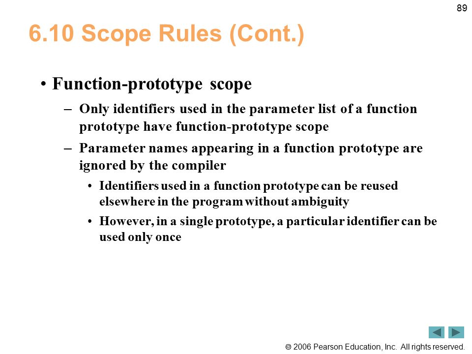 6.10 Scope Rules (Cont.) Function-prototype scope