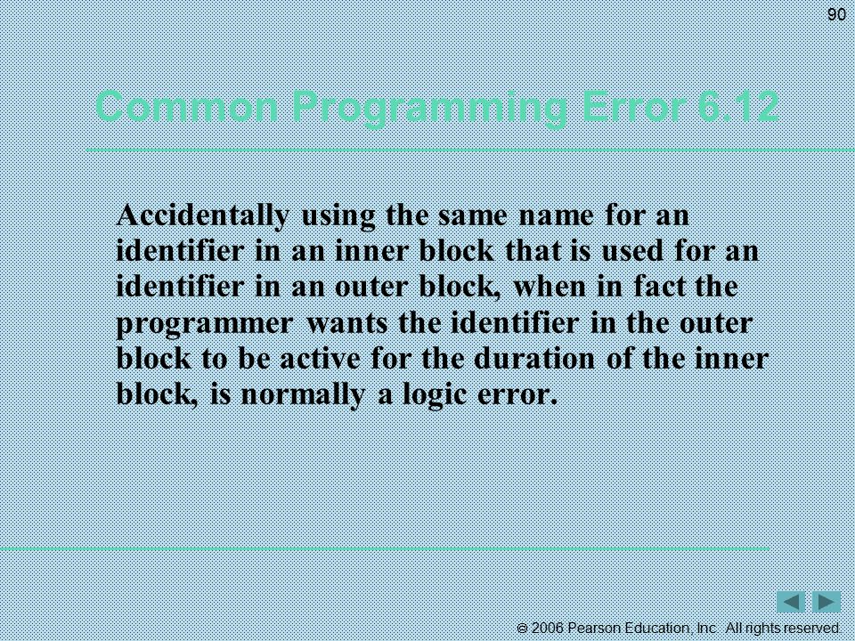 Common Programming Error 6.12
