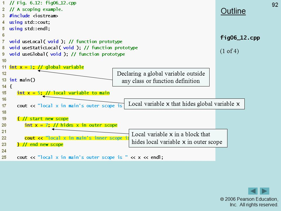 Outline fig06_12.cpp. (1 of 4) Declaring a global variable outside any class or function definition.