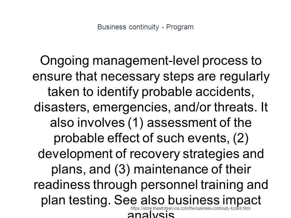 Business continuity - Program