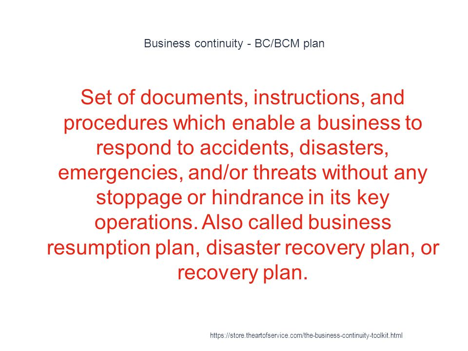 Business continuity - BC/BCM plan