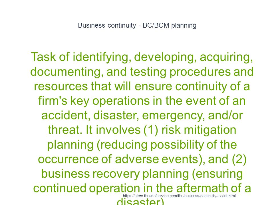 Business continuity - BC/BCM planning
