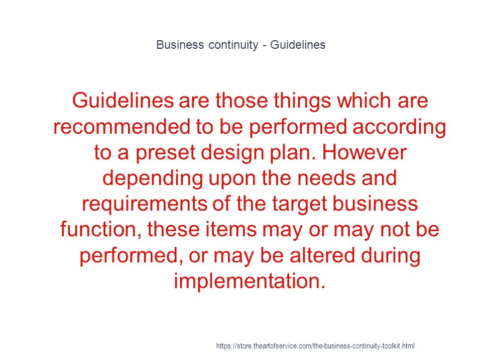 Business continuity - Guidelines