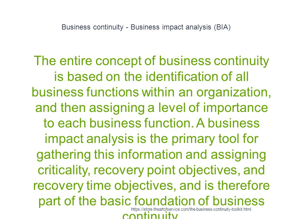 Business continuity - Business impact analysis (BIA)