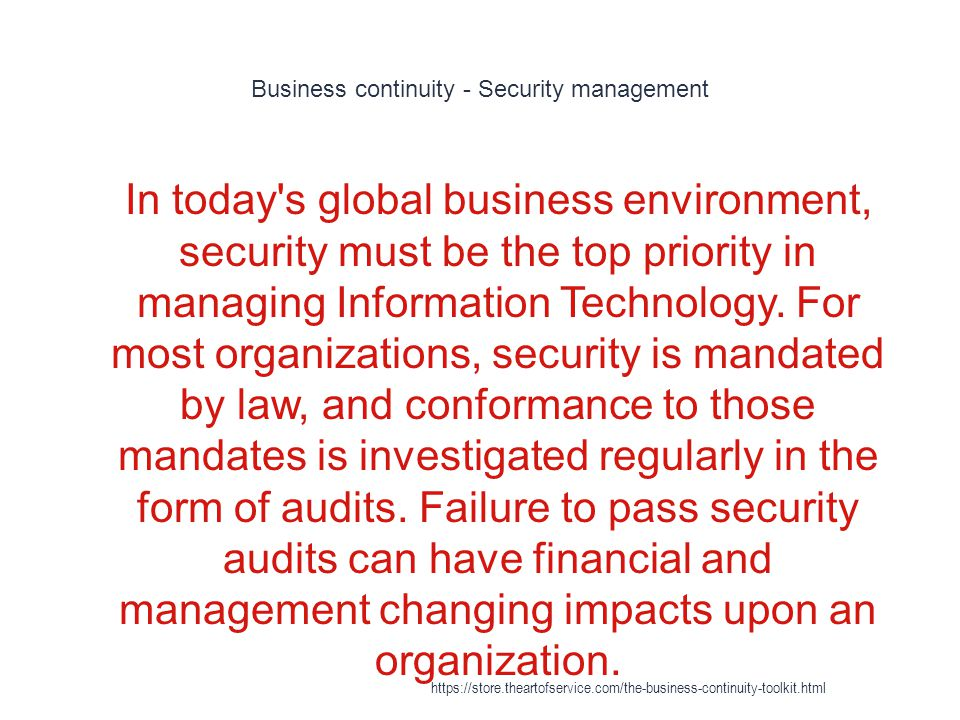 Business continuity - Security management