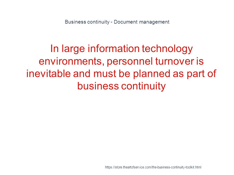Business continuity - Document management