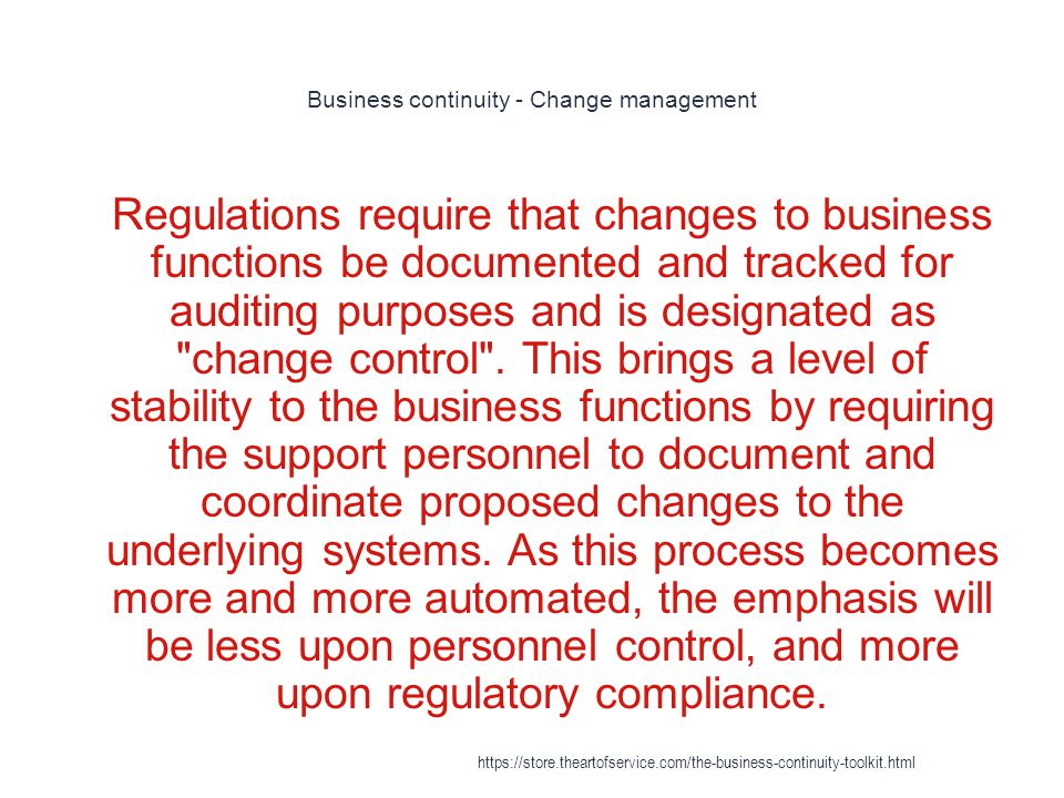 Business continuity - Change management