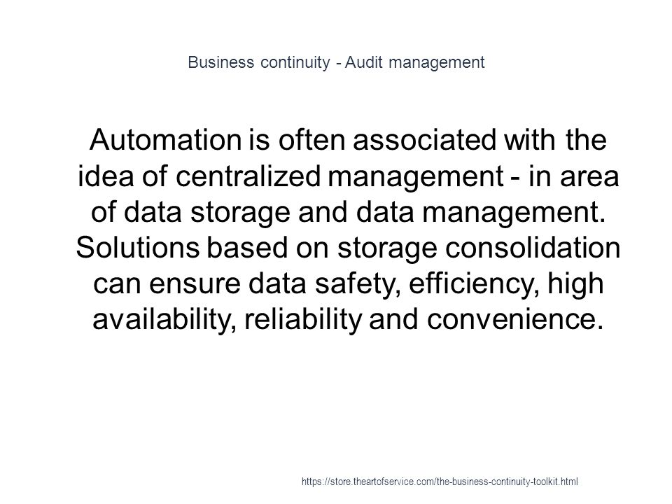 Business continuity - Audit management