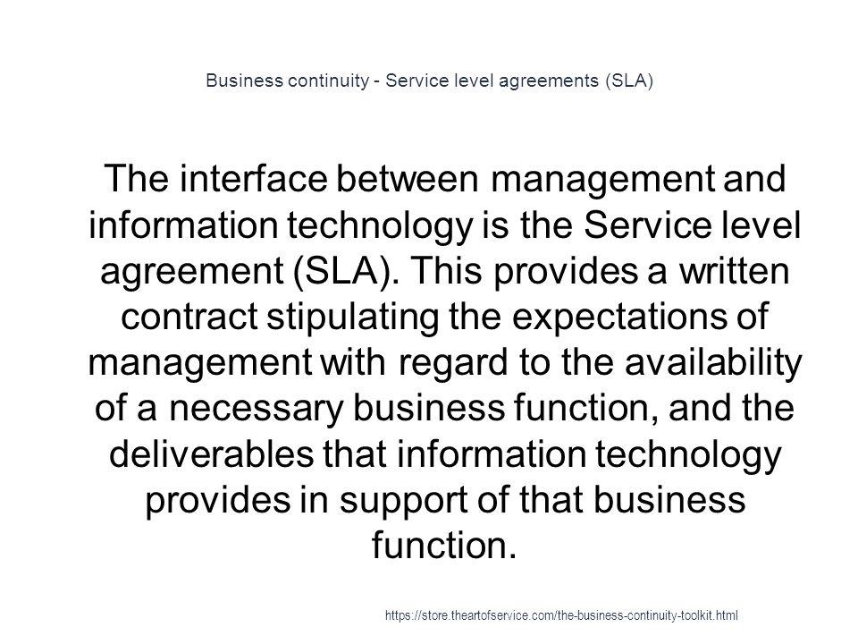 Business continuity - Service level agreements (SLA)