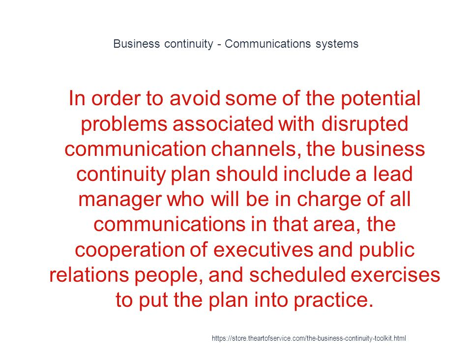 Business continuity - Communications systems