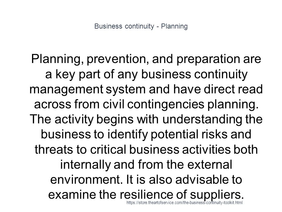 Business continuity - Planning