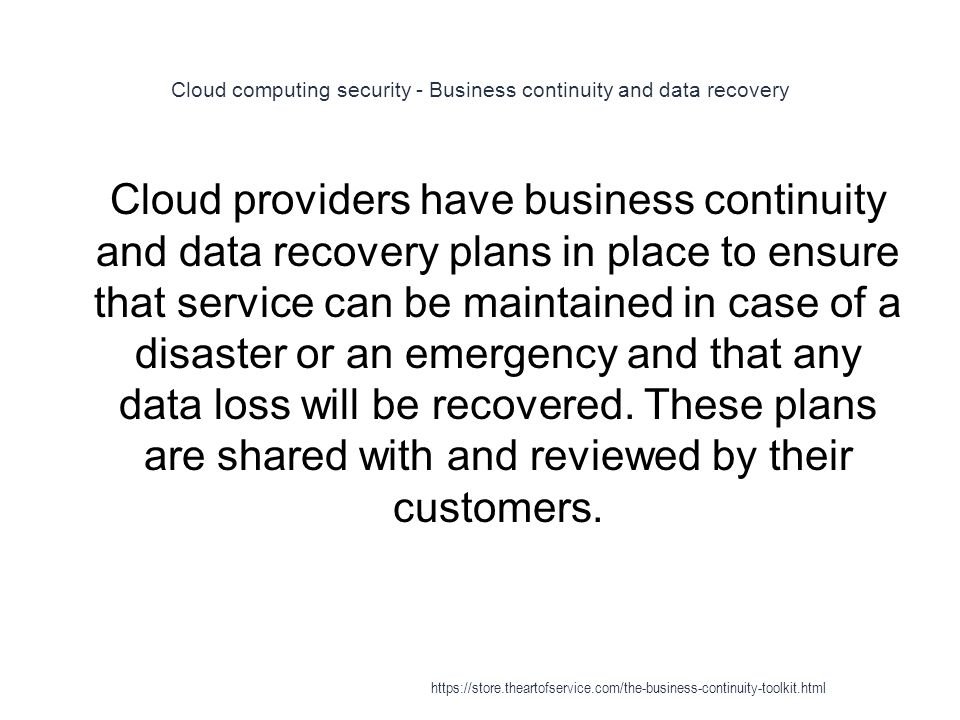 Cloud computing security - Business continuity and data recovery