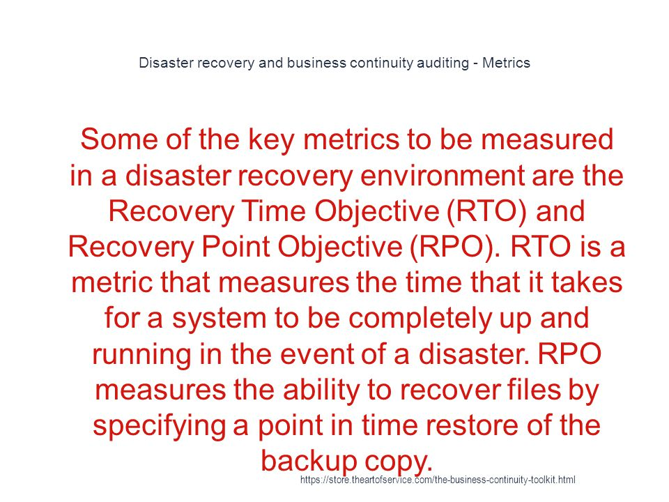 Disaster recovery and business continuity auditing - Metrics