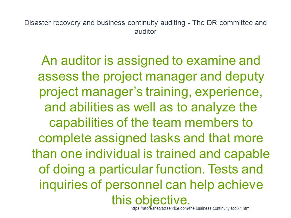 Disaster recovery and business continuity auditing - The DR committee and auditor