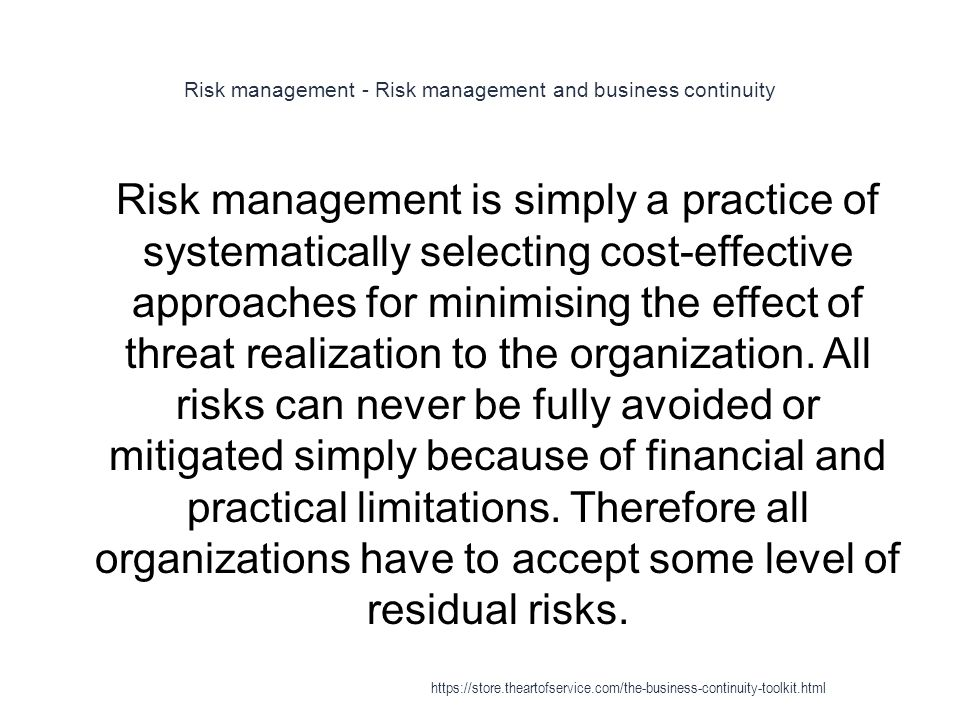 Risk management - Risk management and business continuity