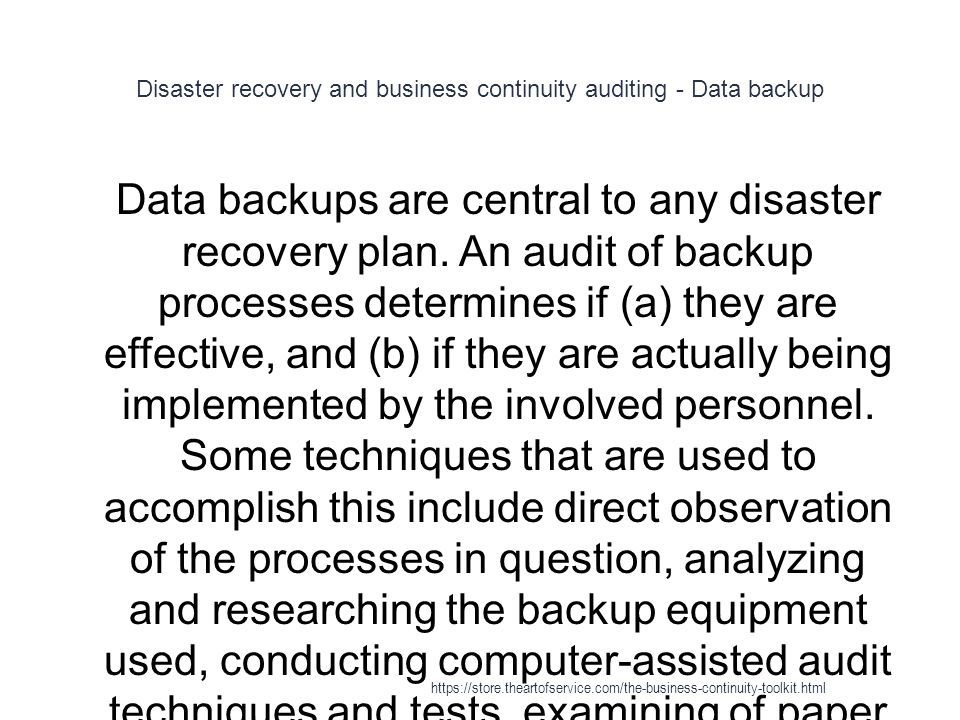 Disaster recovery and business continuity auditing - Data backup