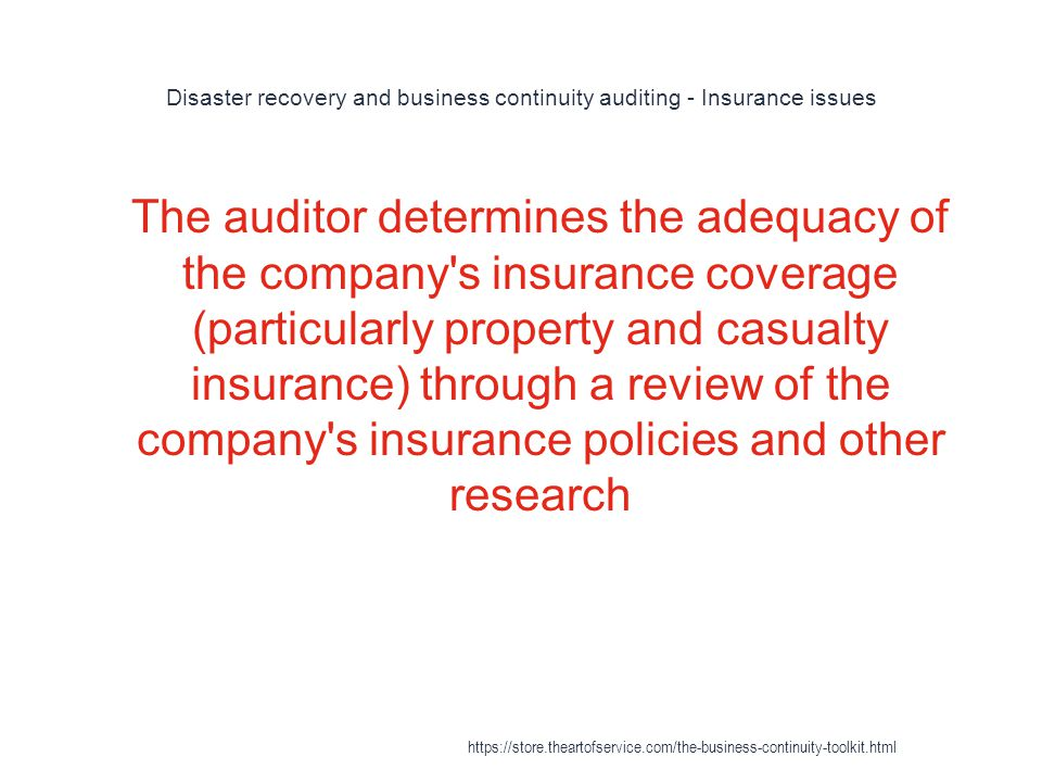 Disaster recovery and business continuity auditing - Insurance issues