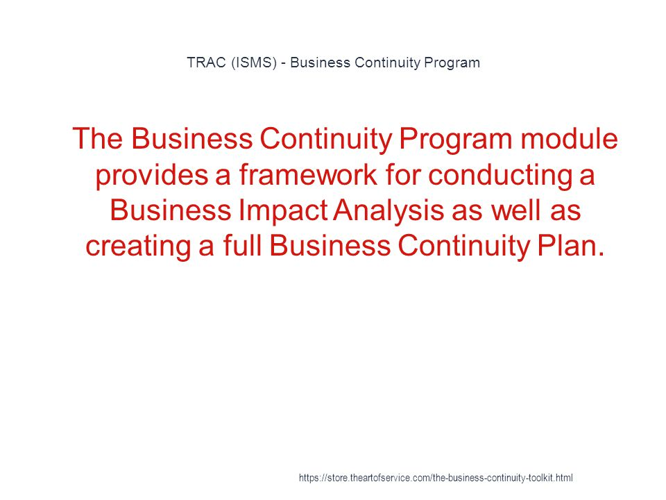 TRAC (ISMS) - Business Continuity Program