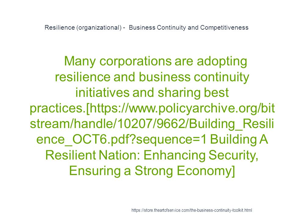Resilience (organizational) - Business Continuity and Competitiveness