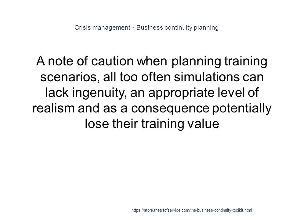 Crisis management - Business continuity planning