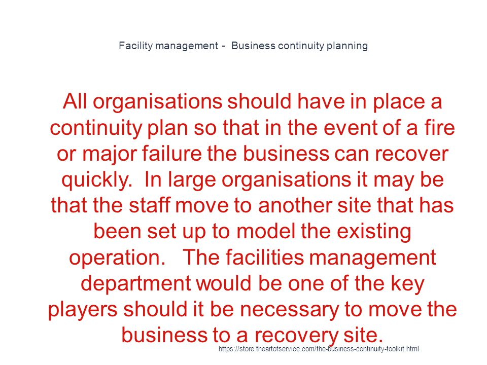 Facility management - Business continuity planning