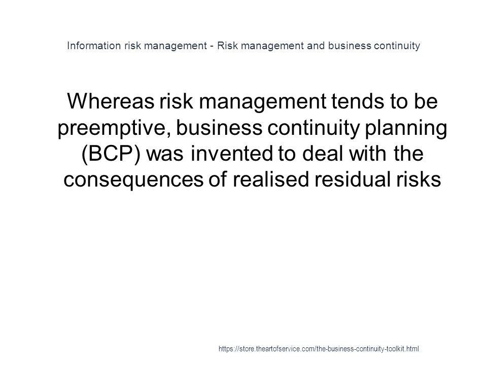 Information risk management - Risk management and business continuity