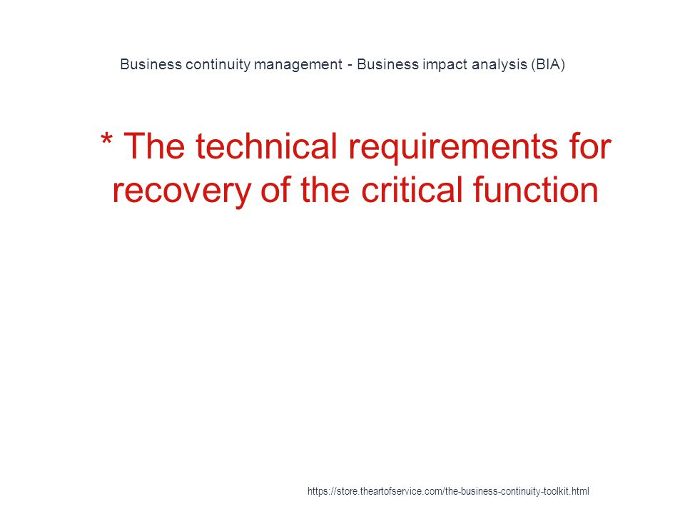 Business continuity management - Business impact analysis (BIA)