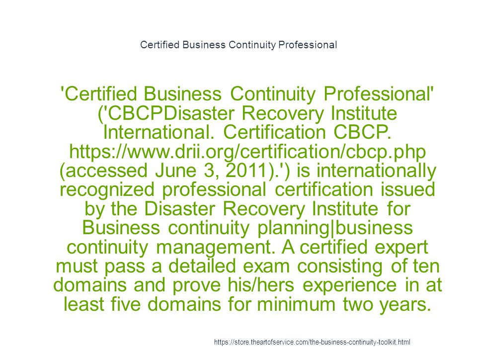 Certified Business Continuity Professional